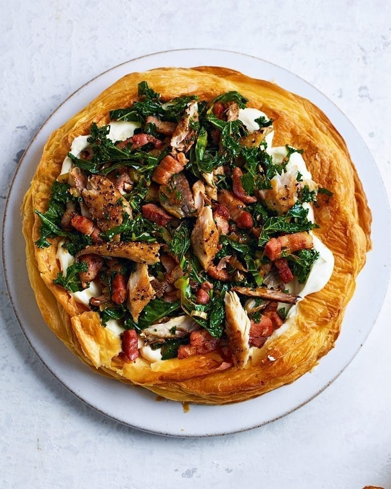 Mackerel and kale puff pastry tart