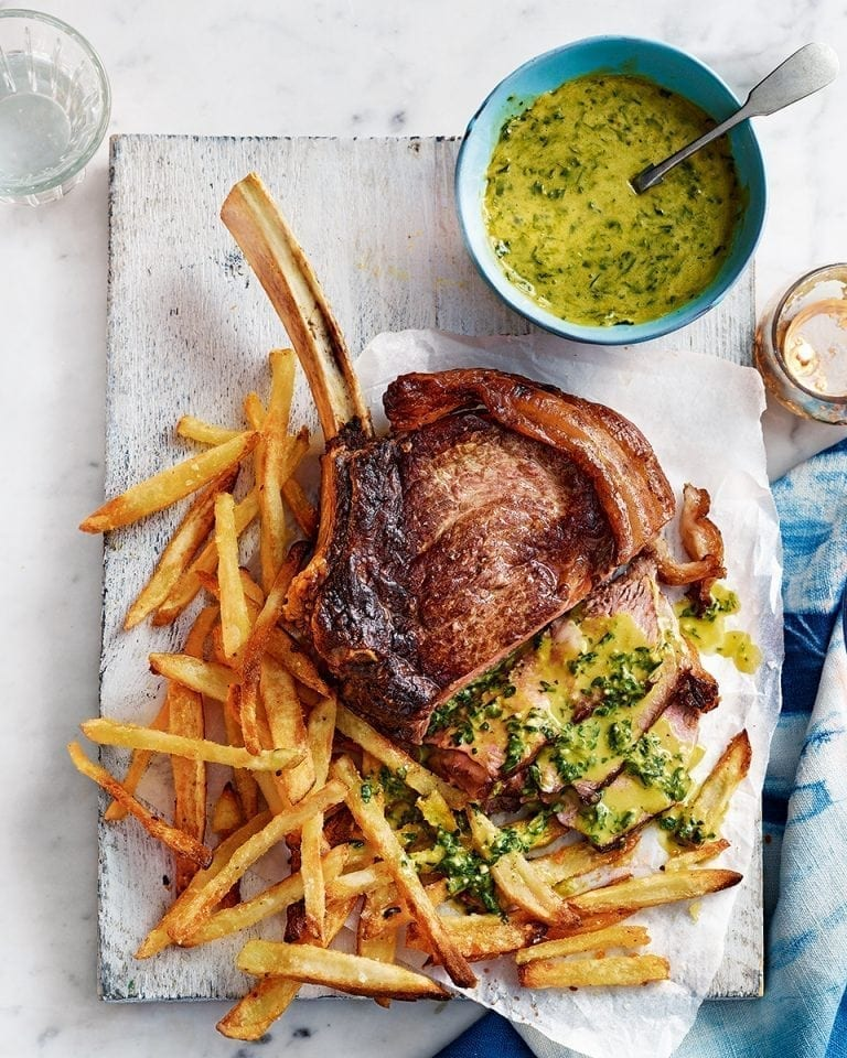 Rib Steak For Two With Pesto Hollandaise And Skinny Oven Chips Delicious Magazine
