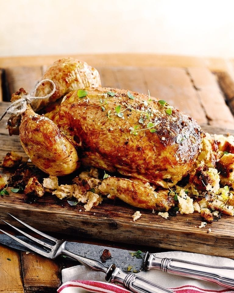 Roast chicken with bread stuffing