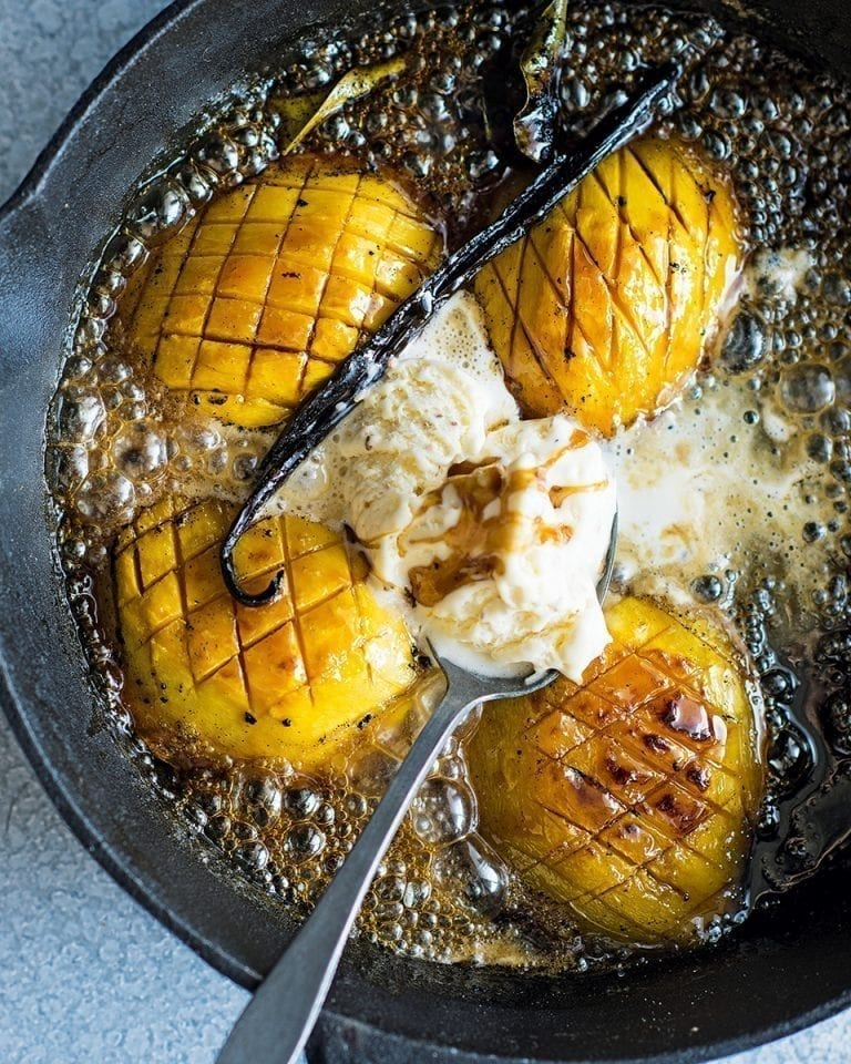 Mango baked in coconut sugar and kaffir lime with coconut ice cream