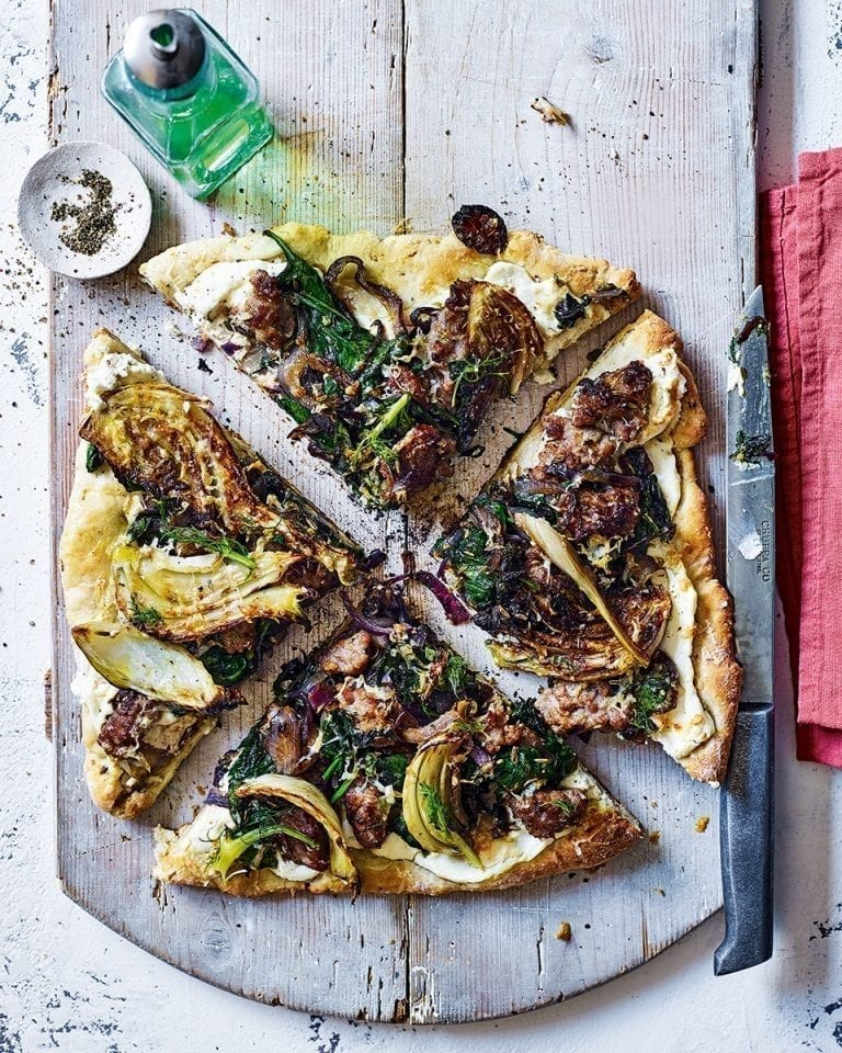Sausage, fennel and chilli griddle-pan pizza