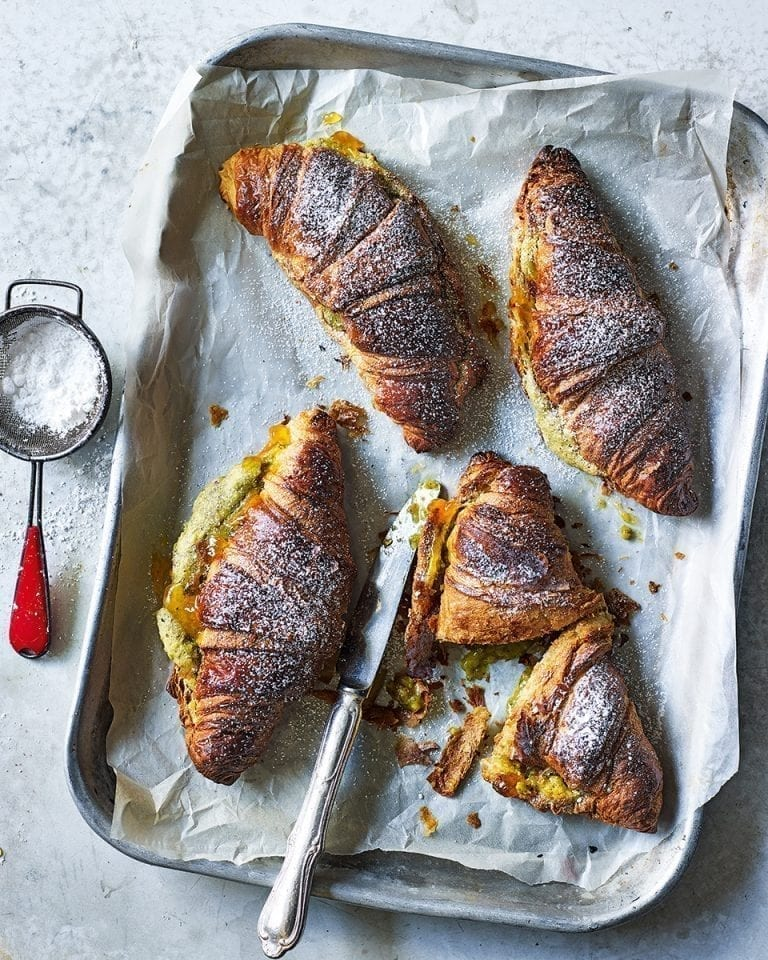 Apricot and pistachio cheat's croissants