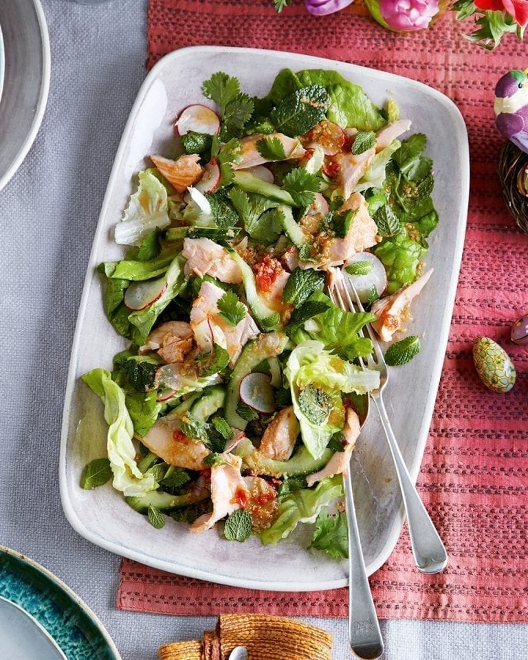 Home-smoked salmon with green herb lettuce salad