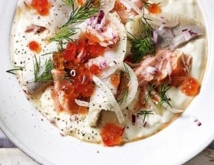 Pepparrotssås (horseradish sauce) with pickled herring and hot-smoked salmon