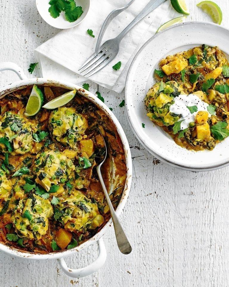 Leek and pea dumpling curry