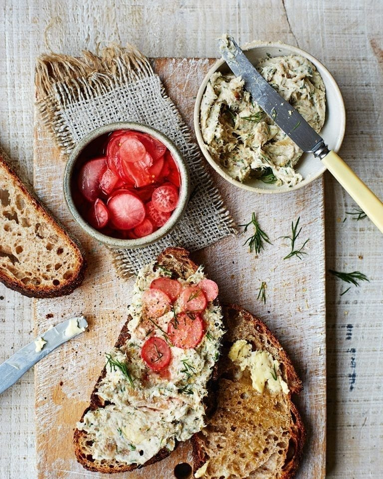 Mackerel pâté with quick-pickled radishes and spelt