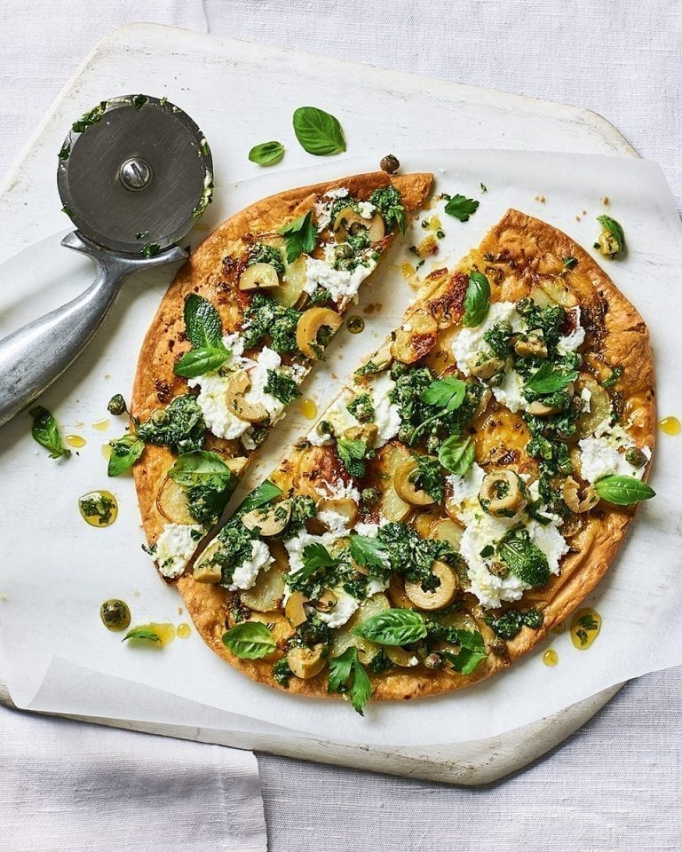 Potato, green tapenade and herb flatbread