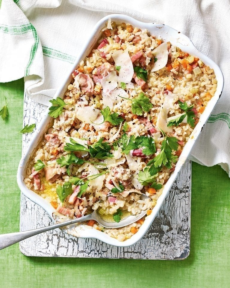 Oven-baked chicken, bacon and barley risotto