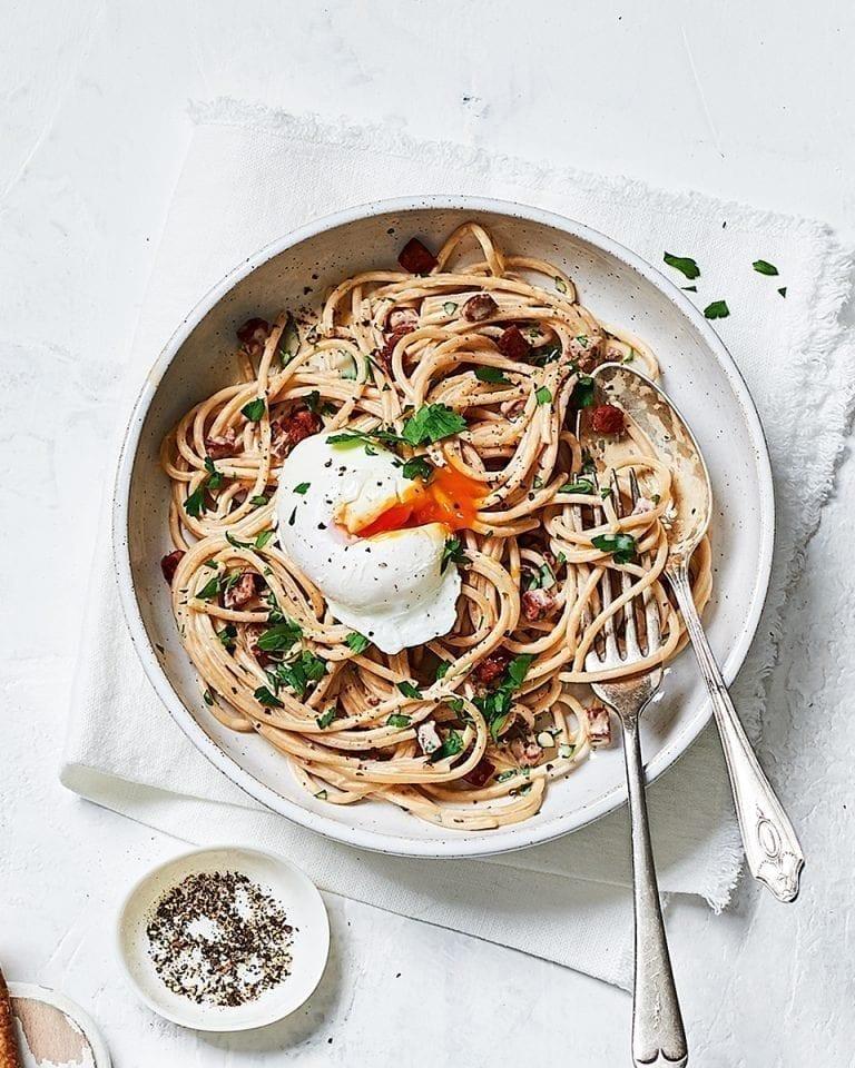 Creamy chorizo spaghetti with poached eggs