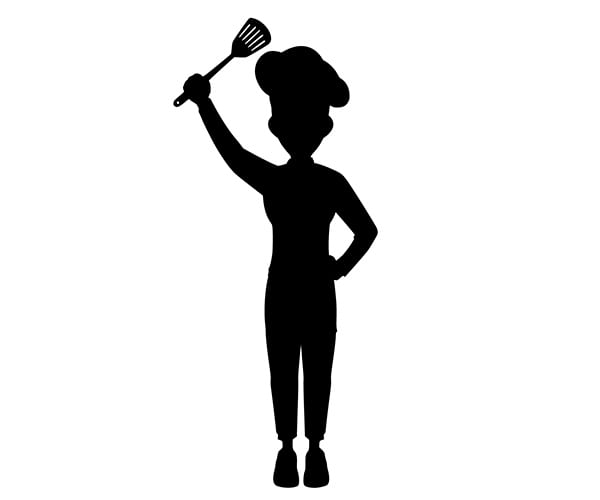 black and white stock image of female chef