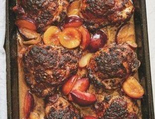 Chicken, plum and sweet spice traybake