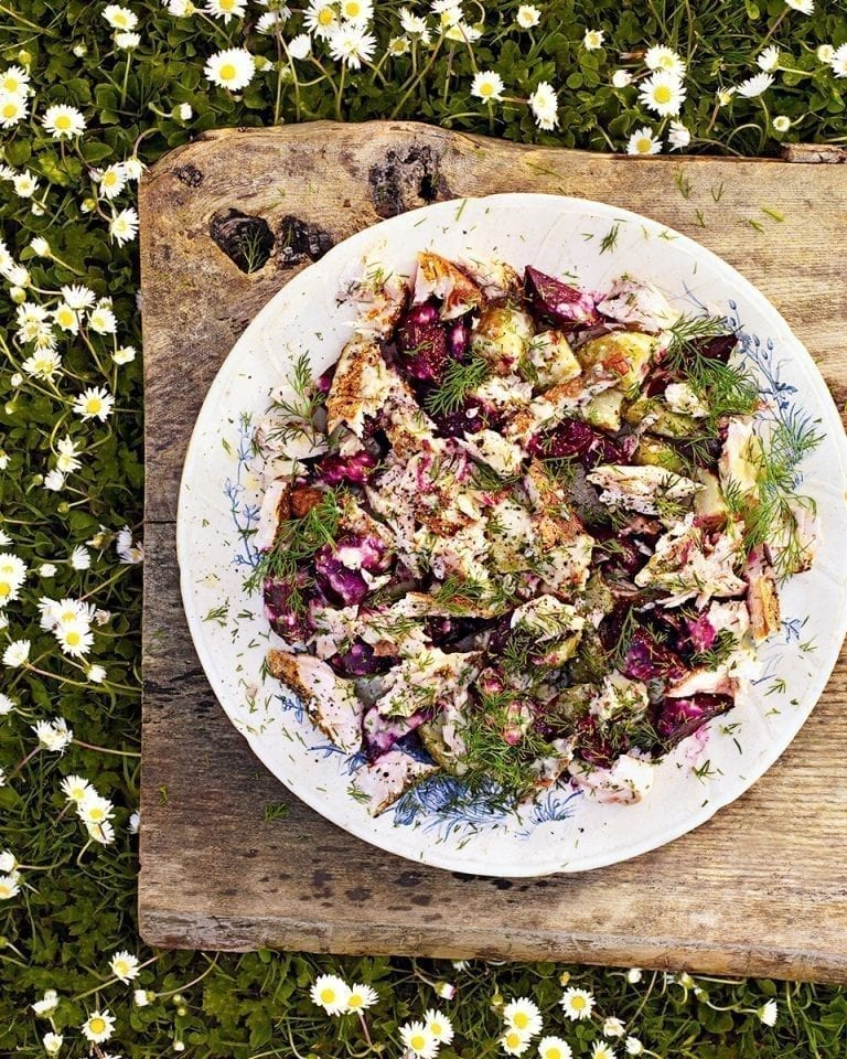 Hot-smoked trout, new potato and beetroot salad