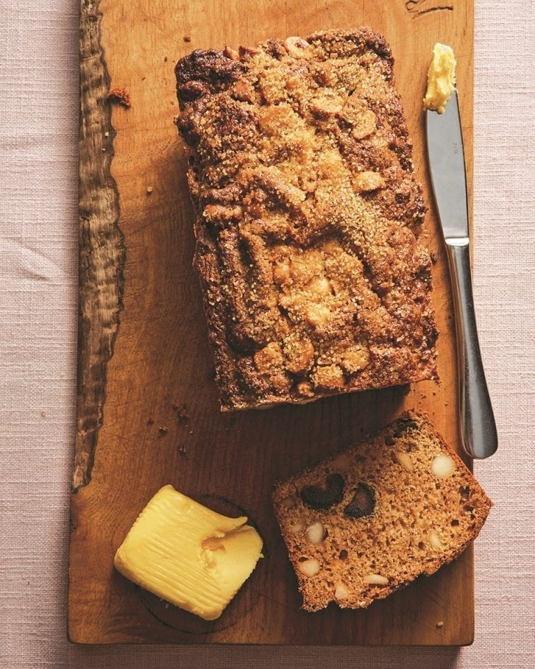 Medjool date, honey and macadamia breakfast loaf