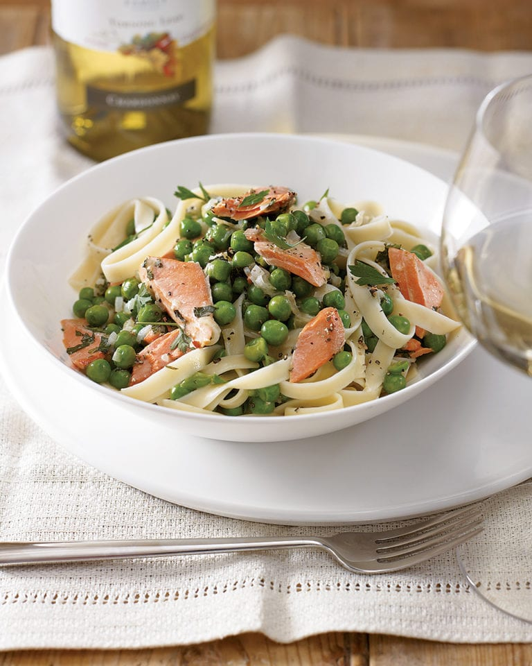 Salmon and pea tagliatelle
