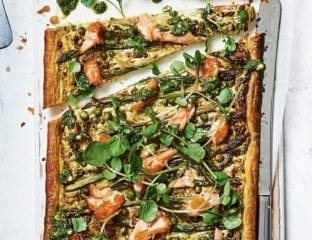 Hot-smoked salmon and asparagus tart