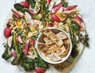 Dip and salad sharing platter