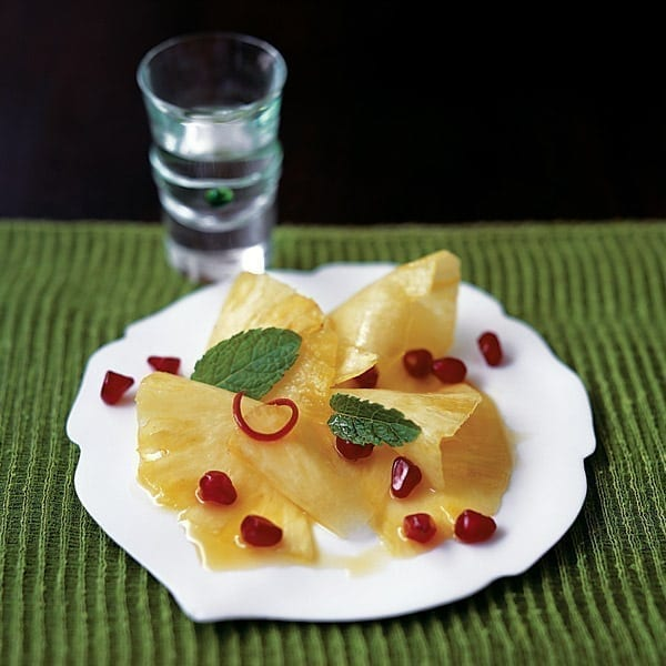 Pineapple and passion fruit salad with pomegranate