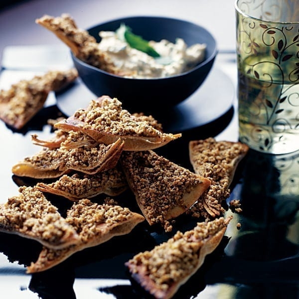 Crispy dukka flatbreads with herbed houmous