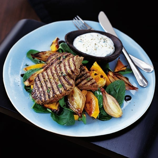 Chargrilled steak with roasted squash