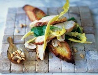 Chicken and mushrooms on bruschetta
