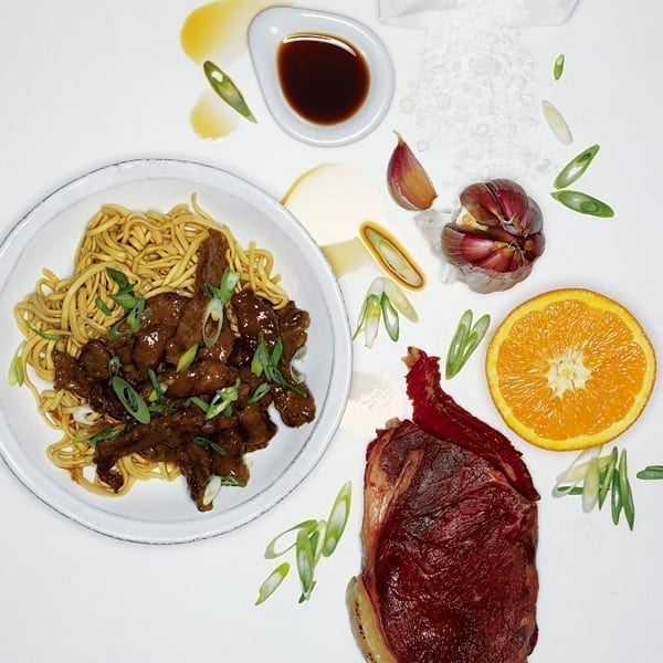 Chinese orange beef stir-fry