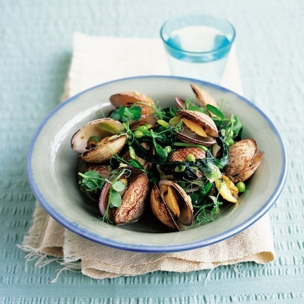 Clams with pea shoots and wild garlic