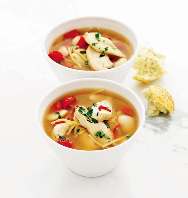 Quick chicken, pasta and butter bean soup