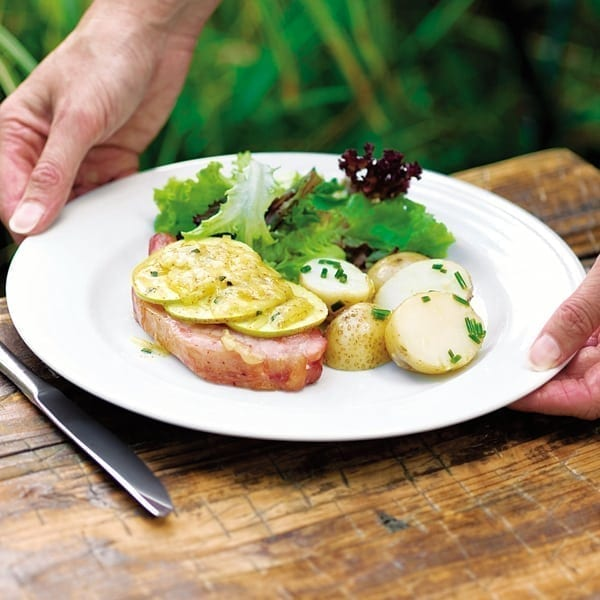 Gammon with apple and cheese