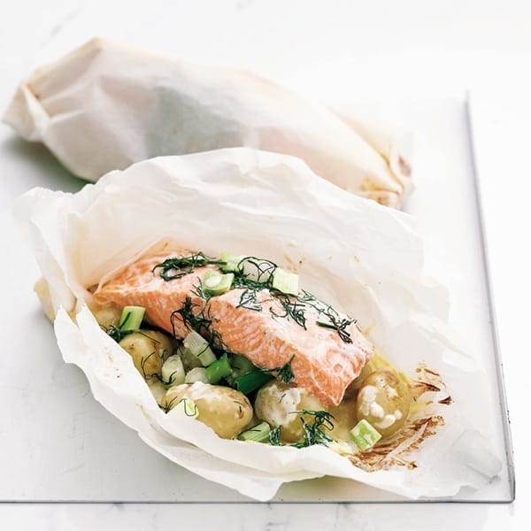 Baked salmon and potato parcels