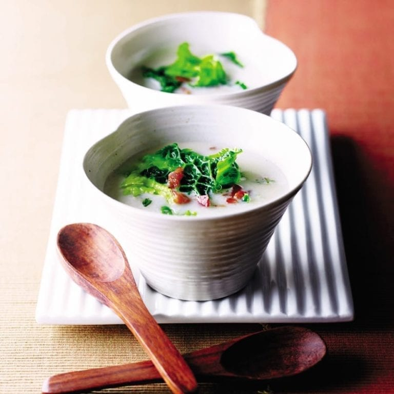 Fennel soup with winter greens and bacon