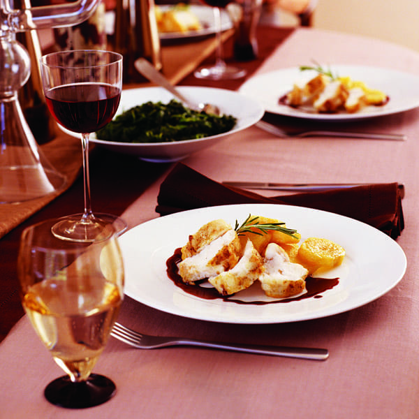 Roast monkfish fillet with red wine sauce