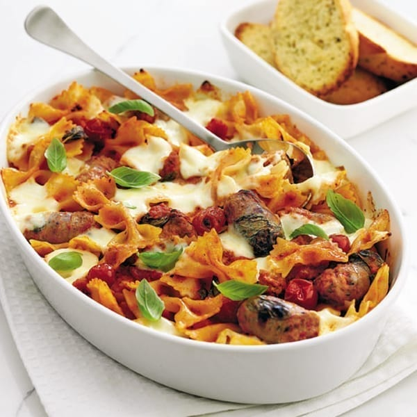 Sausage and roast vegetable pasta bake