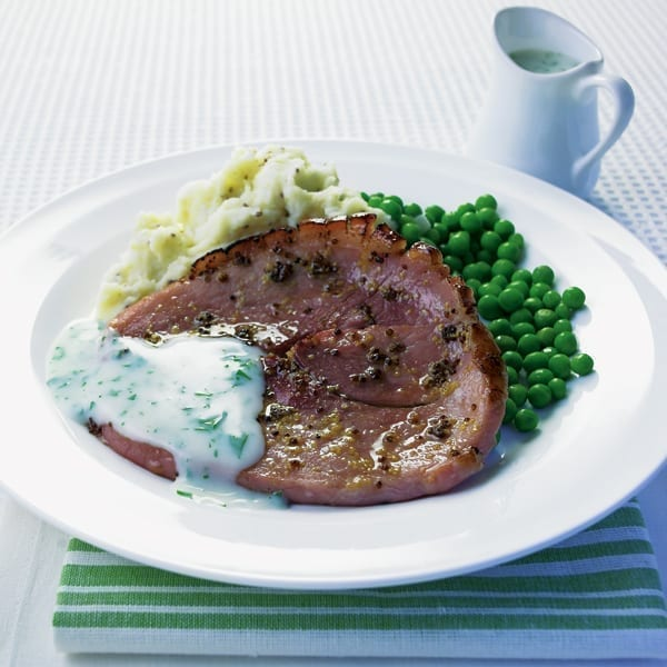 Gammon with mustard mash and parsley sauce