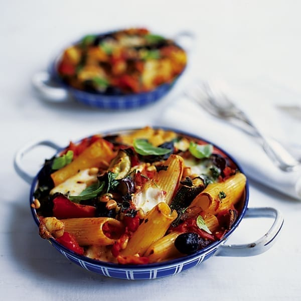 Ratatouille and mozzarella baked pasta