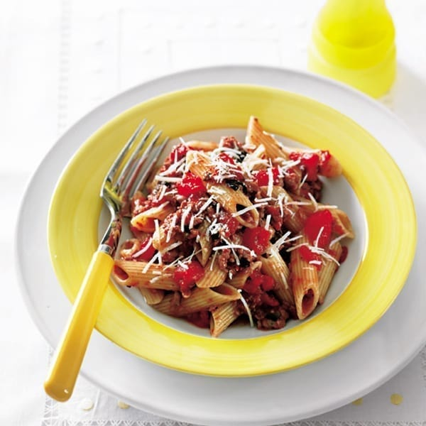 Sausage, tomato and olive penne