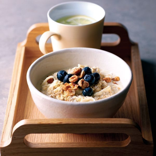 Apple muesli with blueberries and hazelnuts