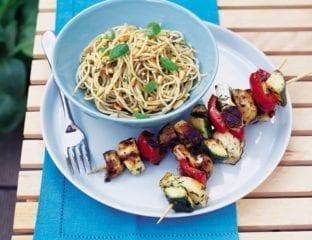 Haloumi and roasted veg kebabs with basil spaghetti