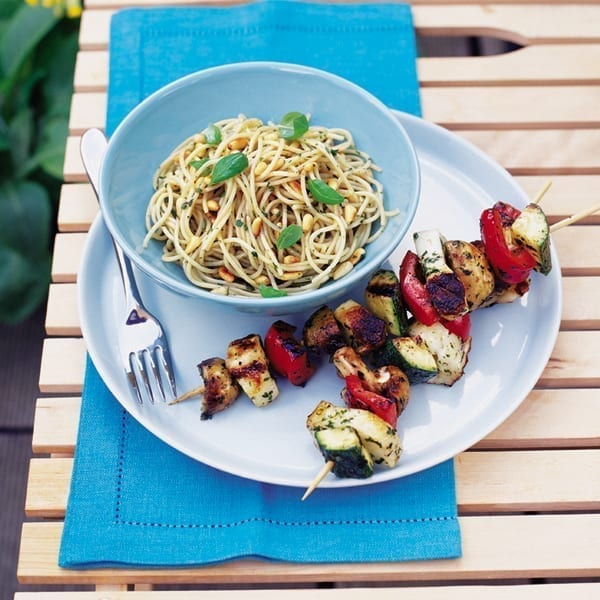 Haloumi and roasted veg kebabs with basil spaghetti