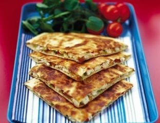 Chicken and smoked mozzarella quesadillas