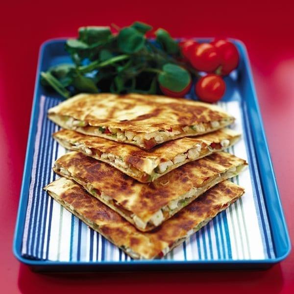 Chicken and smoked mozzarella quesadillas