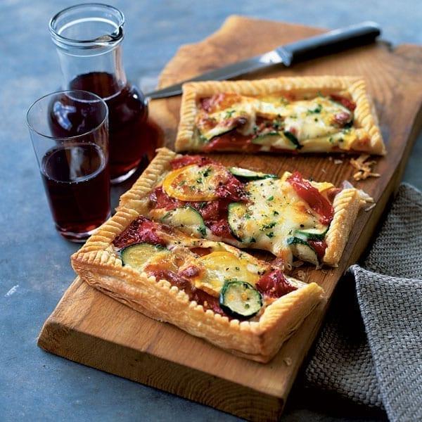 Courgette and mozzarella tart