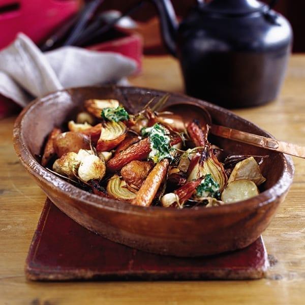 Cumin-roasted winter veg with lemon butter