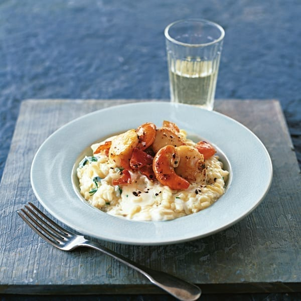Fennel and mascarpone risotto with scallops and prosciutto