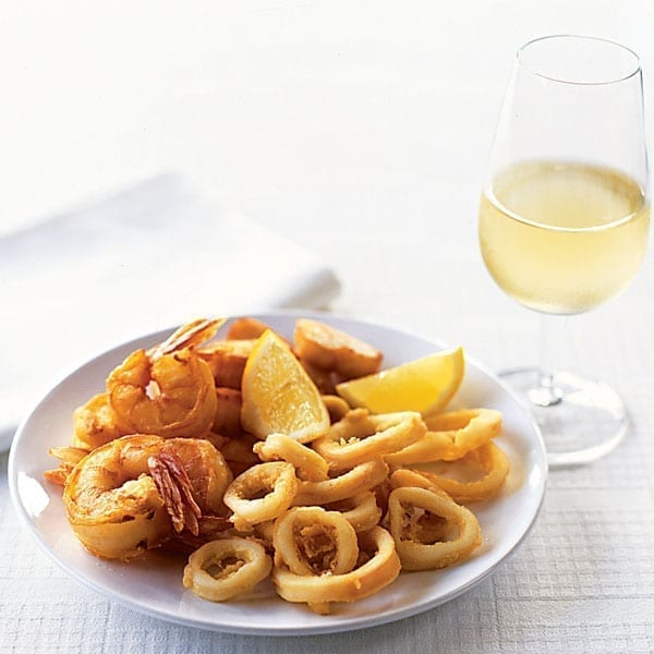Battered squid, scallops and prawns