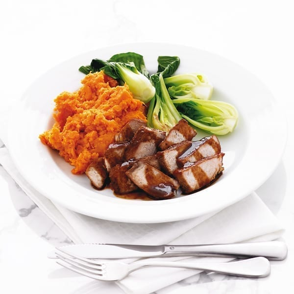 Honey and soy-glazed pork with sweet potato mash