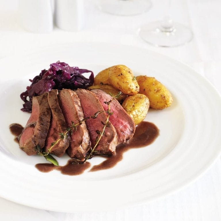 Pan-roasted venison with braised red cabbage
