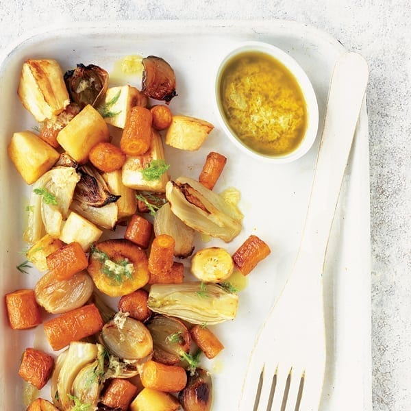 Roasted root vegetables with horseradish and lemon sauce