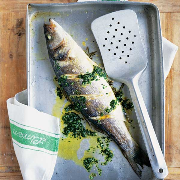 Grilled sea bass with fresh rosemary and parsley pesto