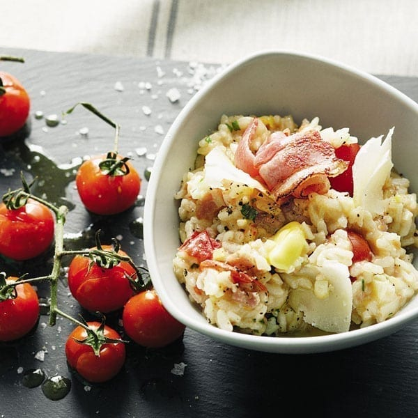 Bacon, leek and tomato risotto