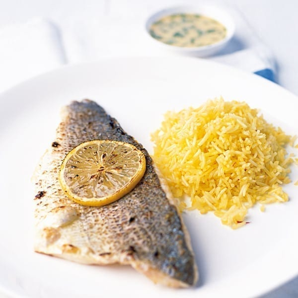 Grilled sea bass with fennel sauce and saffron pilau rice